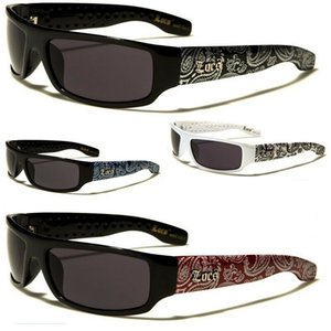 Novos Locais Sunglasses Flat Frame Gangster Chicano Bandana Impresso óculos de sol