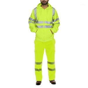 Qnpqyx inverno streetwear flleece tracksuit homens stripe estrada trabalho alta visibilidade moletom e calças define suits de esporte reflexivo1