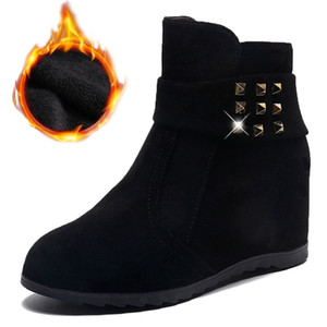 Fashion Snow Boots Women Rivets Shoes Warm Plush Height Increasing Shoes Women Ankle Boots Elegant Ladies Winter Footwear A3014 201217