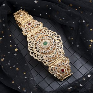 Exquisite Moroccan style adjustable length body jewelry waist chain woman full diamond hollowed-out silver metal belt 201117