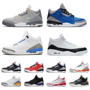 Alta qualità Retro 3 Jumpman UNC 3s Mens Women Basketball Shoes Frammento Varsity Reale Denim Fire Red Knicks Rivals Sneakers
