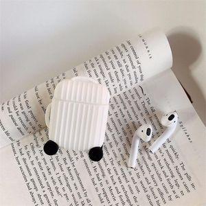 Концом в форме багажа Уголовный телефон Беспроводная гарнитура набор защитный чехол силикагель белый оранжевый творческий бардиан GWF3867