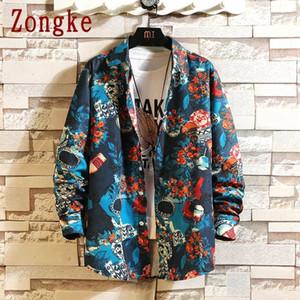 Мужские повседневные рубашки Zongke Harajuku для мужчин одежда 2021 мода уличная одежда рубашка белая кнопка с длинным рукавом M-5XL1