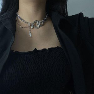 KMVEXO Heart Crystal Pendant Thick Chains Necklaces Women Choker Grunge Egirl Emo Gothic Aesthetic Jewelry 90s Fashion Necklace