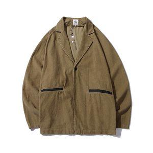 اليابانية الرجعية khaki كودري البدلة سترة رجل سستة جيوب فضفاضة عارضة وزرة عالية الشارع واحد زر الخريف معطف