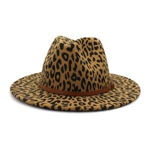 Fedora cappello feltro di lana cappelli panama donna moda moda cintura piatta larga brim jazz cappello leopardo cappello da sposa cappello pop stile cappelli lla18
