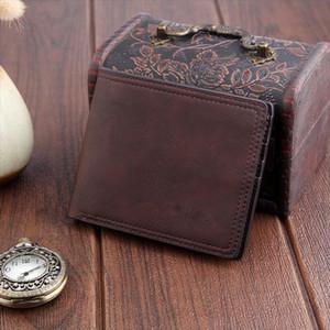 Venta caliente hombres monedero hombres cortos de cuero de cuero de la tarjeta titular de la tarjeta monedero billetera de billetera delgada embrague