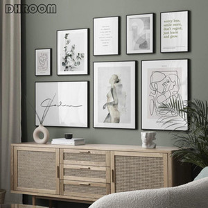 Abstract Line Canvas Black White Wall Art Motivational Text Print Painting Poster Woman Body Picture Modern Living Room Decor