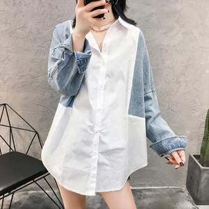 [EWQ] Blouses Tops Female Fashion Casual Women Clothing Denim Autumn New Women Shirts Coats Wild Cotton Pluz Size Blusas 16Q517