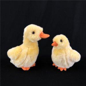 [Funny] 2pcs lot Zoo Simulation Lifelike Yellow Duck and chicken Plush Toys Soft Stuffed Animals doll Birthday christmas Gifts