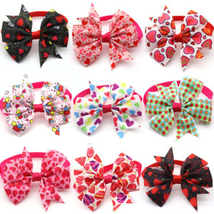 Dog Bowtie Valentines Day Pet Supplies Dogs Accessories Small Dog Cat Bow Tie Collar Love Pink Girl Dogs Bowties Necktie