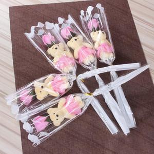 Simulación Flor artificial Rose Linda Oso Oso Oso Oso Flor Single Rose para Valentines Day Party Single Bouquet Gift DHF4595