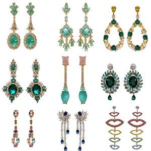Fashion Green Crystal Flowers Earrings Luxury Wedding Party Bridal Long Drop Earring Brand Design Trendy Cubic Zirconia Jewelry Gold Plated