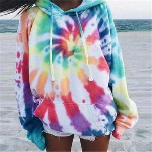 Hip Hop Streetwear Women Colorful Tie Dye Printed Pullover Sweatshirt 2020 Autumn Winter Female Hoodies Oversize Sweatshirt