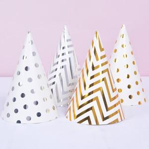 Birthday Party Hats Polka Dot Stripe Baby Kids Birthday Party Handmade Paper Cap Decoration Hat DHE3121