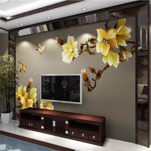 월페이퍼 추상 손으로 그린 꽃과 새 현대 중국 스타일 벽 장식 그림의 생산 전문