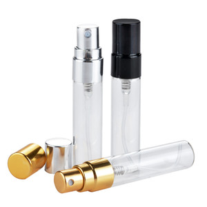 3ml 5ml Refillable Glass Perfume Bottle With UV Sprayer Cosmetic Pump Spray Atomizer Silver Black Gold Cap