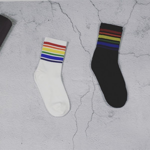 Fashion Rainbow Strape Socks Black White Cotton Sock Stockings for Women Men Christmas Gift Drop Shipping