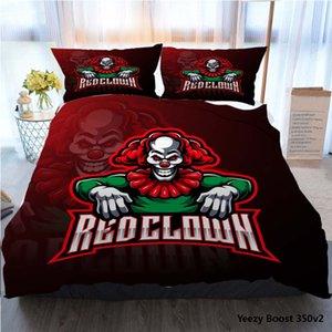 3pcs Bedding Cotton Set Super King Duvet Cover Set Red Clown Sport Mascot Logo Design Polyester Duvet Cover Luxury Bedding Sets