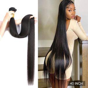 Wigirl Straight 28 30 32 40 Inch Virgin Remy Brazilian Hair Weave Human Hair Bundles Natural Color 100% Human Hair