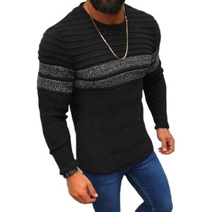 Sweater Men Casual Stripes Pullover Shirt Autumn Winter Slim Fit Long Sleeve Mens Sweaters Knitted Cotton Pull Homme Top