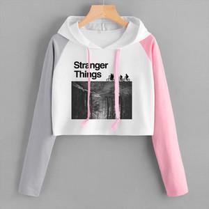 Hip hop Stranger Things Hoodie Sexy Girl Women Spring Autumn High waist Black Short Sweatshirt Ladies Hoodies Casual Crop Tops