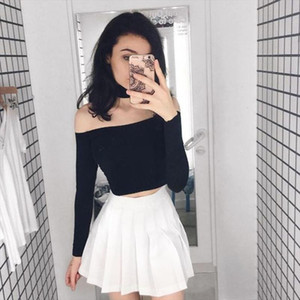 Fashion Women Sexy Pleated Mini Skirt School Girl Skater Tennis Skirt High Waist Flared White Red Female Short Summer