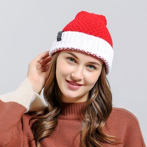 2020 HOT Christmas Hat Santa Claus Snowflake Knitted Warm Cap For Kids Adults New Year Christmas Decor Ornaments Gifts F1208