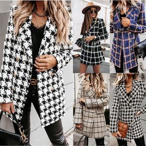 Frauenjacke Herbst und Wintermode Neue FRMale Revers Neck Slim Lange Jacken Europäische und amerikanische Style Damen Trenchcoats Größe S-2XL