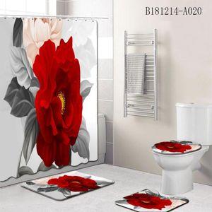 Curtain Bathroom Set Romantic Cover Waterproof Rug Flower Toilet Carpet Home Mat Non Area Slip Pattern Shower Decor1 Rxsis