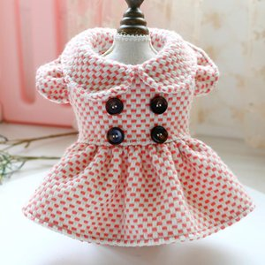 New Dog Cat Dress Hoodie Plaid Buttons Design Pet Puppy Coat Jacket for Dogs Cats Small Medium