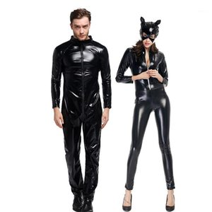 Couples PVC Bodysuit Costume Leather Black Cat Motorcycle Cosplay Carnival Halloween Clubwear Catsuit Fancy Party Dress1