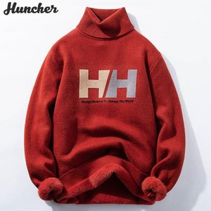 Huncher Men's Turtleneck Camisola Men 2020 Inverno Vintage Vintage Alto Collar Jumper Pulôver de Malha Suéteres Oversized Red Sweater Homens