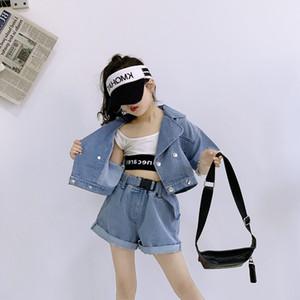 Wholesale INS Autumn New Arrival Girls Denim Suits Princess Girls Streetwear Jacket with Denim Shorts Belts Designs Korean Fashions Suits