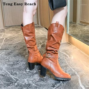 Mujeres Leahter Knee Boots High Fashion Slip Dobling Slip en el invierno High Boots Tacones casuales Black Long Long Ladies 20201