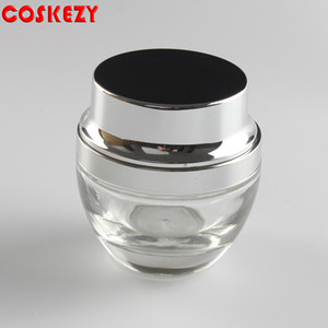 High quality Clear black purple red golden blue glass cream jar with and silver aluminum cap in stock