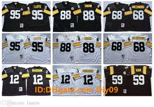 NostaljikPittsburghSteelerNFL Futbol Forması 12 Terry Bradshaw Erkekler 68 L.C Greenwood 59 Jack Ham 88 Lynn Swann 95 Greg Lloyd R