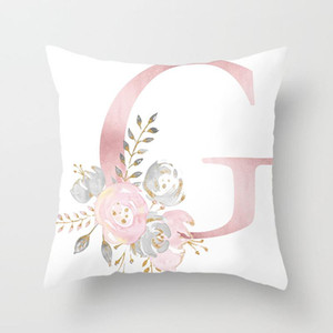 Throw Pillow Letter Pink Floral Decoration Cushion Pillow Case Polyester Cushion Cover Sofa Decoration Pillow Case Hot Sale