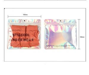 18x16cm Hologram 100Pcs lot Aluminum Foil Laser Underwear Under Clothes Storage Bag with Hang Hole