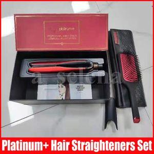 البلاتين + فرد الشعر فرشاة فرشاة مجموعات المهنية الطراز شقة مستقيم تصفيف الشعر أداة اللون الأحمر مع مربع