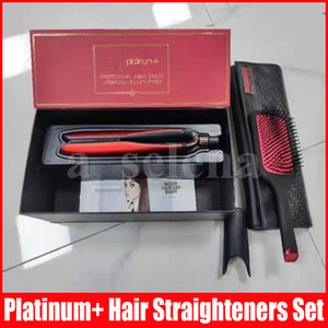 Platinum + alisadores de cabelo pincel de cabelo conjuntos profissional estilista plana alisador estilo estilo ferramenta vermelho com caixa