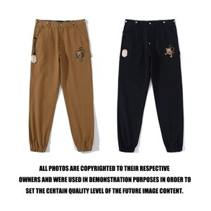 Japanese fashion brand embroidered tiger head gold bottle opener work pants men's street fashion casual pants