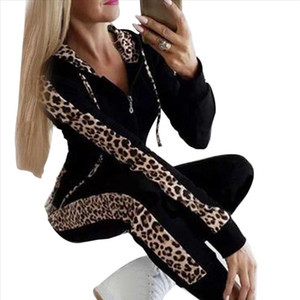 Autumn Winter Fashion Tracksuit Women Splice Fleece Leopard Print Coat With Hood Two Pieces Set Hoodies Long Pant Suit
