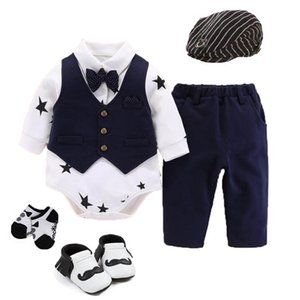 High quality baby boys wedding party tuxedo suit Newborn bodysuit+pants+hat+socks+shoes outfits & set gentleman birthday gift Y201001