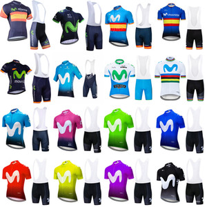 Movistar Team Cycling Mangas cortas Jersey Babero Shorts Sets Cycling Jersey MTB Ropa Ciclismo Mens Bicicling Maillot Culotte Ropa 102335