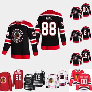 시카고 BlackHawks Patrick Kane 2020-21 Reverse Retro Hockey Jersey Jonathan Toews Duncan Keith Corey Crawford Alex Debrincat Andrew Shaw