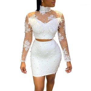 Trajes de paneles Diseñador Flor blanco Bordado 2pcs Vestido Gauze Ve aunque Sexy Sets Vestidos Mujeres Pearl