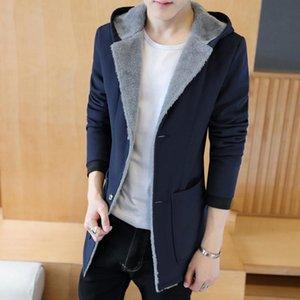 Мужская траншея пальто зимних мужчин с теплым капюшоном, кашемера моды с капюшоном плюс размер мужчина куртки черный