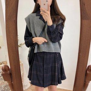 Women Dress Vintage Plaid A-line Dresses With Belt Turndown Collar Korean Style Fashion Design Woman Spring Summer Dress