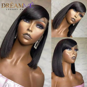 13X4 Lace frontal Wigs Short Straight Bob Lace Front Human Hair Wigs With Bang 150% Density Bobs ynthetic Lace Front Wigs For Black Women